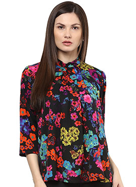 Shakumbhari Black Crepe Printed Top