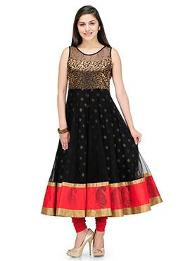 Shakumbhari Black Foil Printed Anarkali Kurti