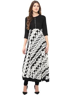 Shakumbhari Black N White Anarkali Kurti