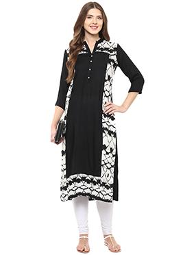 Shakumbhari Black N White Viscose Long Kurti