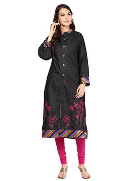 Shakumbhari Blended Cotton Black Kurti