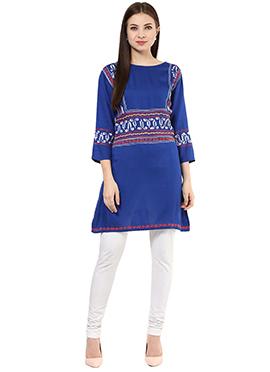 Shakumbhari Blue Viscose Tunic