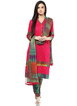 Shakumbhari Dark Pink Cotton Straight Pant Suit