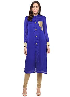 Shakumbhari Indigo Blue Satin Silk Long Kurti