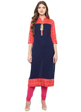 Shakumbhari Navy Blue N Orange Long Kurti