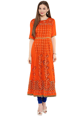 Shakumbhari Orange Anarkali Kurti