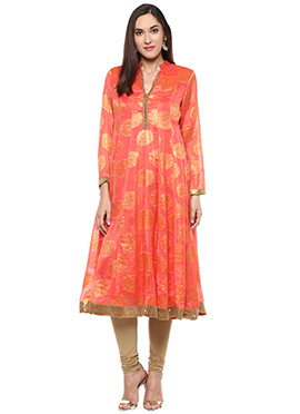 Shakumbhari Orange Chiffon Anarkali Kurti