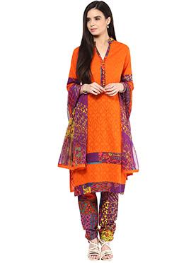 Shakumbhari Orange Cotton Straight Pant Suit