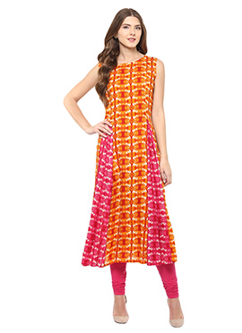 Shakumbhari Orange N Pink Anarkali Kurti