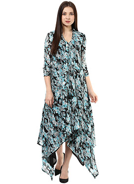 Shakumbhari Printed Asymmetric Dress
