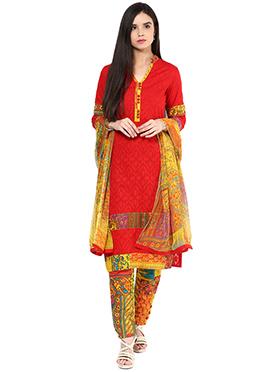 Shakumbhari Red Cotton Straight Pant Suit