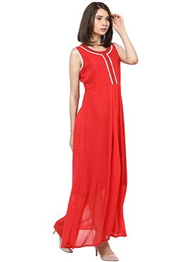Shakumbhari Red Georgette Maxi Dress