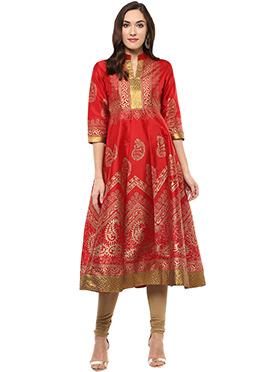 Shakumbhari Red Tissue Foil Printed Anarkali Kurti