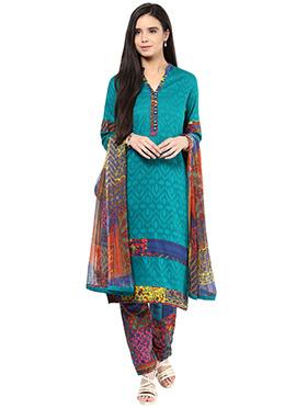 Shakumbhari Turquoise Cotton Straight Pant Suit