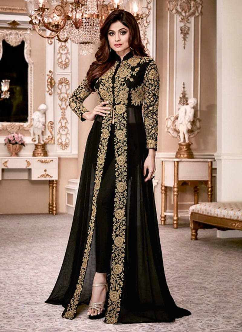 Buy Shamita Shetty Black Georgette Anarkali Suit