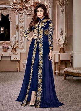 Shamita Shetty Blue Georgette Anarkali Suit