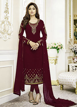 Shamita Shetty Magenta Embroidered Straight Suit
