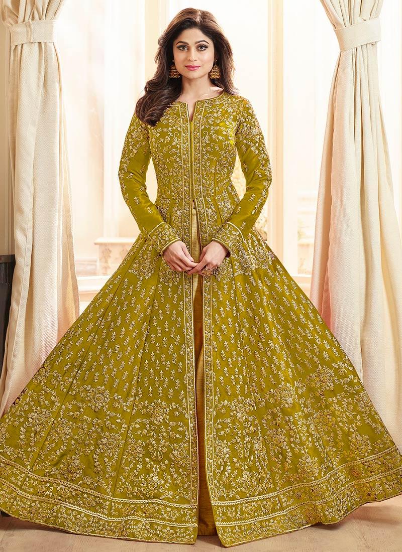 c27b3e6fe2 Buy Shamita Shetty Mustard Anarkali Lehenga, Zari , Embroidered, a ...