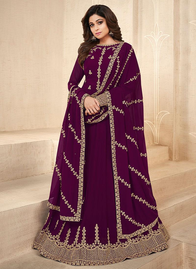 40e5c38e92 Buy Shamita Shetty Purple Embroidered Anarkali Suit, Embroidered ...