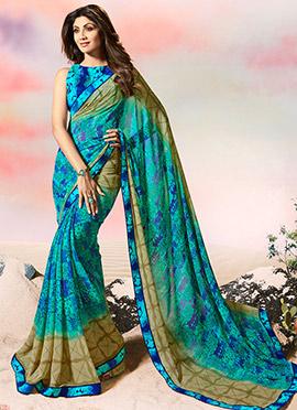Shilpa Shetty Aqua Blue Georgette Saree