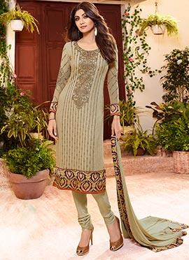 Shilpa Shetty Beige Churidar Suit