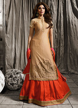 Shilpa Shetty Beige Long Choli A Line Lehenga