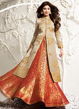 Shilpa Shetty Beige Long Choli Umbrella Lehenga