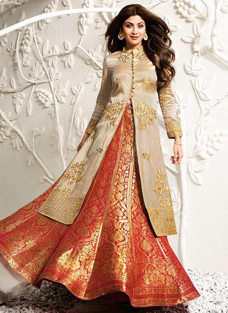 Buy Shilpa Shetty Beige Long Choli Umbrella Lehenga ...