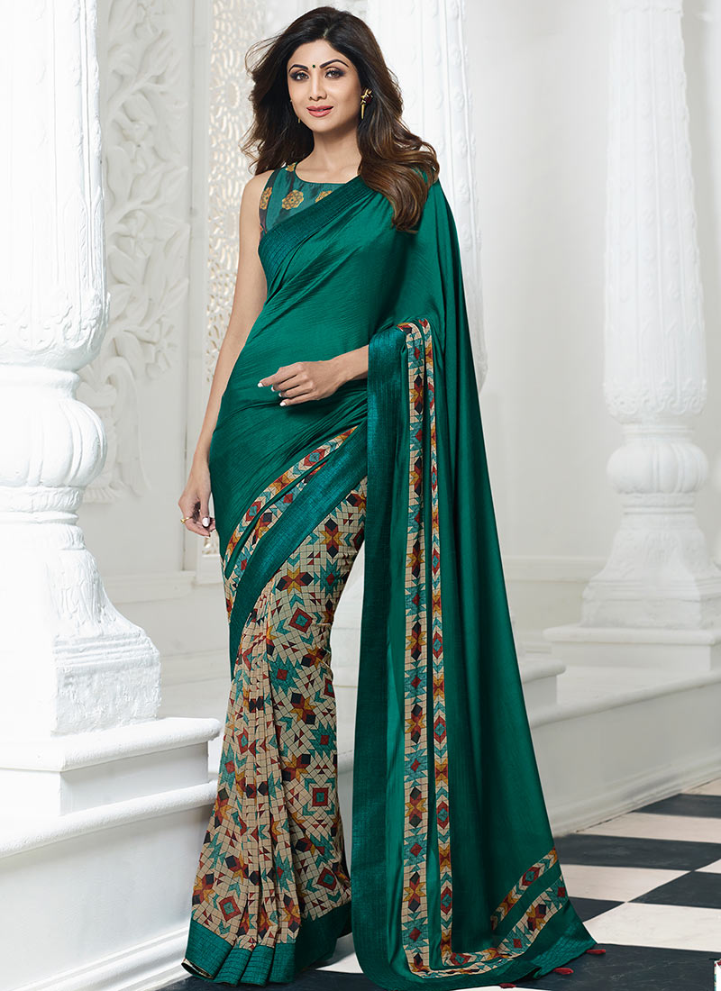 b876443a5e Buy Shilpa Shetty Beige N Green Printed Half N Half Saree, Printed ...