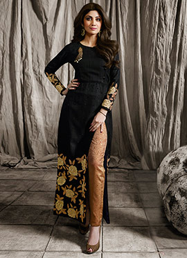 Shilpa Shetty Black Art Silk Straight Pant Suit
