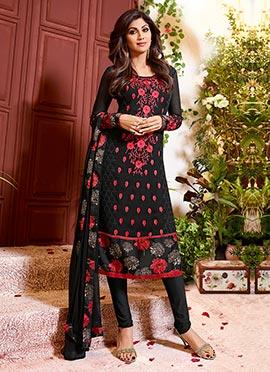 Shilpa Shetty Black Churidar Suit