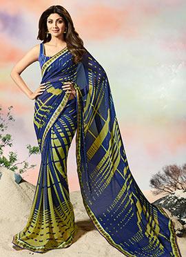 Shilpa Shetty Blue Georgette Saree