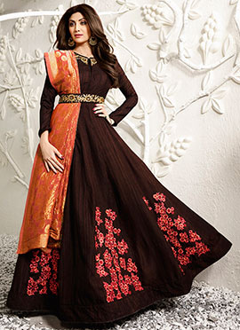 Shilpa Shetty Brown Abaya Style Anarkali Suit