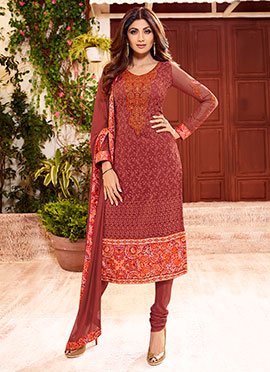 Shilpa Shetty maroon Churidar Suit