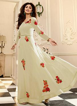 Shilpa Shetty Cream Georgette Anarkali Suit
