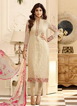 Shilpa Shetty Cream Georgette Churidar Suit