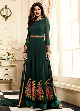 Shilpa Shetty Dark Green Georgette Anarkali Suit
