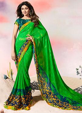 Shilpa Shetty Green Georgette Saree