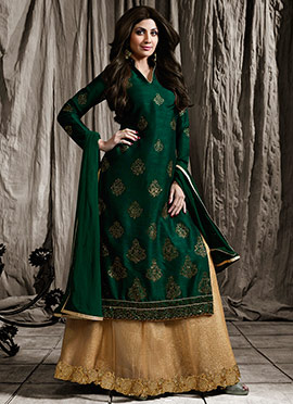 Shilpa Shetty Green Long Choli A Line Lehenga
