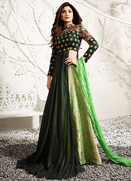 Shilpa Shetty Green Long Choli A Line Lehenga