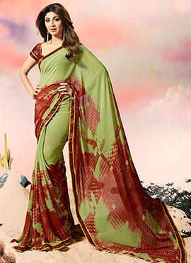 Shilpa Shetty Green N Rust Georgette Saree