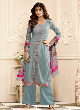 Shilpa Shetty Grey Georgette Palazzo Suit