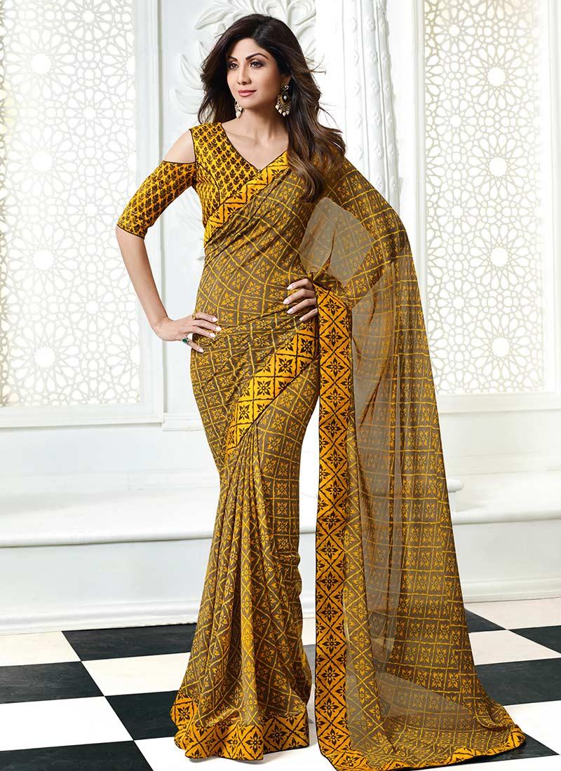 2e1c0dc1b7 Buy Shilpa Shetty Grey N Yellow Printed Saree, Printed, sari Online ...