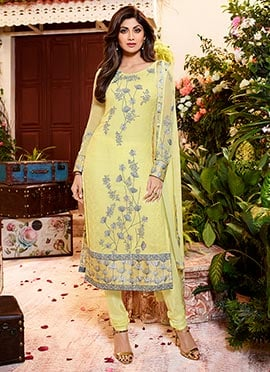 Shilpa Shetty Light Yellow Churidar Suit