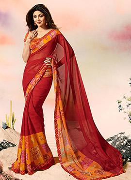 Shilpa Shetty Maroon Georgette Saree