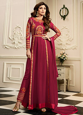 Shilpa Shetty Maroon Georgette Straight Pant Suit