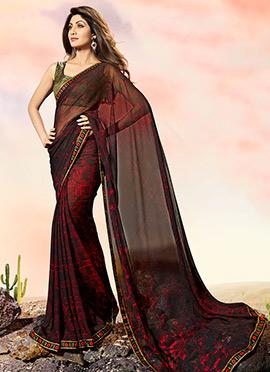 Shilpa Shetty Maroon N Brown Georgette Saree