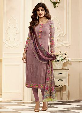 Shilpa Shetty Mauve Georgette Churidar Suit