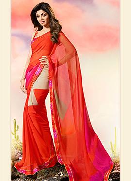 Shilpa Shetty Multicolor Border Saree