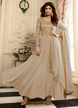Shilpa Shetty Light Grey Georgette Anarkali Suit